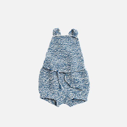 Hand Knit Starfish Sunsuit - Natural/Indigo - 0m-4y