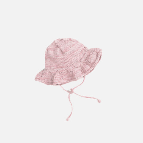 Hand Knit Starling Sunhat - Pink Sand - 4-6y