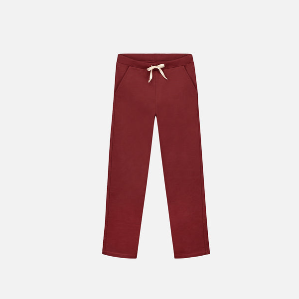 Organic Straight Pants - Burgundy - 2-4y