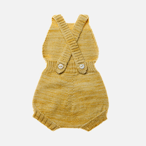Exclusive Hand-Knit Merino Sugar Maple Playsuit - Winter Wheat - 1-3y