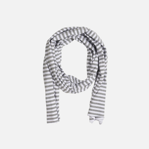 Organic Cotton Raw Edge Scarf Stripes - Grey Melange - One Size