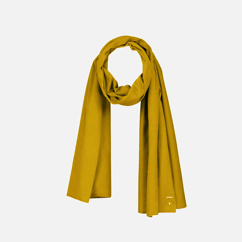 Organic Cotton Raw Edge Scarf - Mustard - One Size