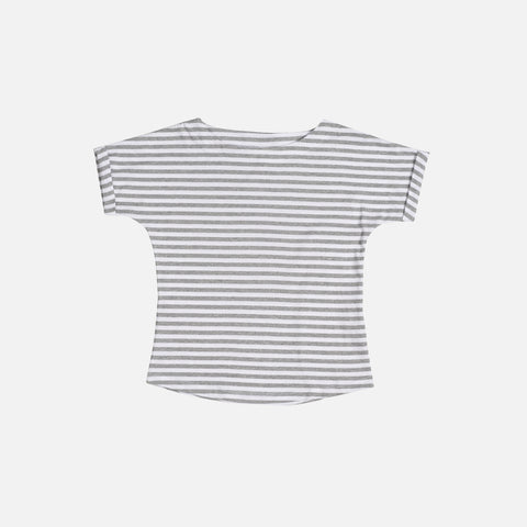 Organic Cotton Striped Wide Neck Tee - Grey Melange - 12m-8y
