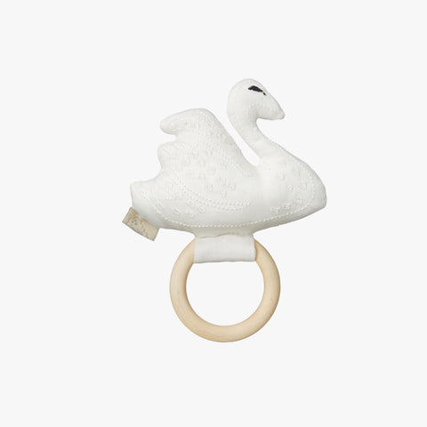 Organic Cotton Swan Rattle - Off White