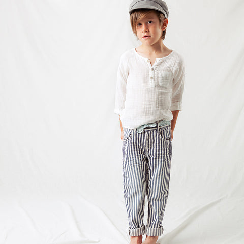 Cotton Stripped Denim Pants - Blue - 2-8y