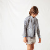 Cotton Stripped Denim Jacket - Blue - 4y