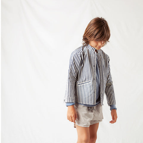 Cotton Stripped Denim Jacket - Blue - 2-8y