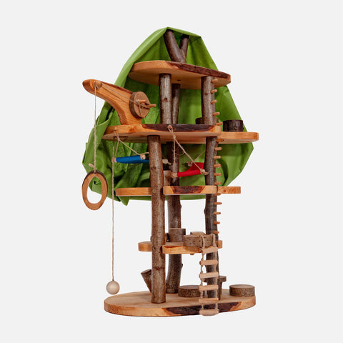 Handmade Medium Wooden Treehouse With Canopy