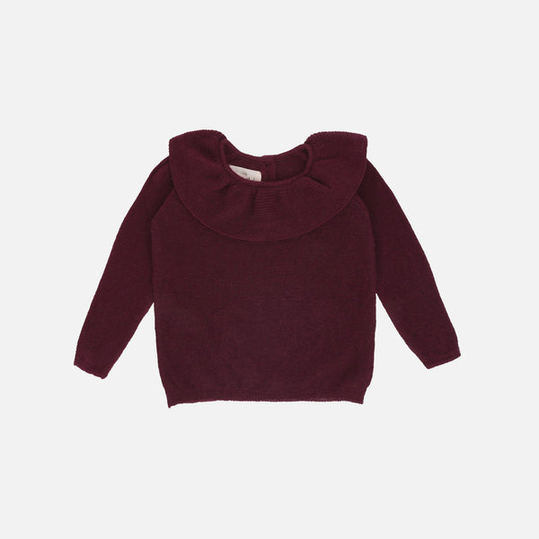 Wool Knit Collar Sweater - Maroon - 6m-5y