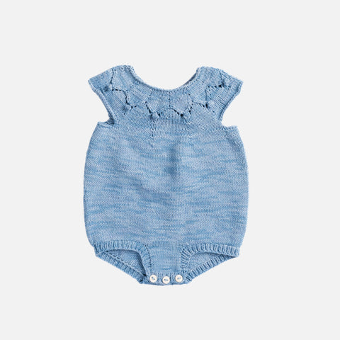 Hand Knit High Tide Romper - Sky - 6m-3y