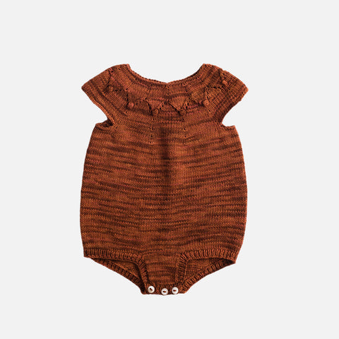 Hand Knit High Tide Romper - Terracotta - 6m-3y