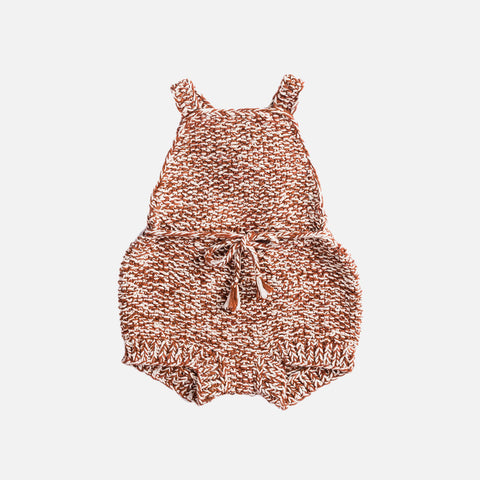 Hand Knit Starfish Sunsuit - Natural/Terracotta - 0m-4y