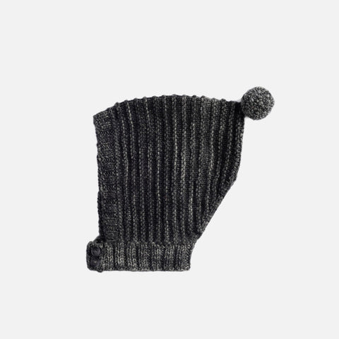 Hand-Knit Merino Tree Ring Bonnet - Graphite - 6-12m
