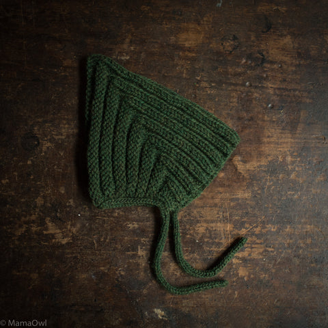 Hand Knitted Wool Chunky Pixie Hat - Moss
