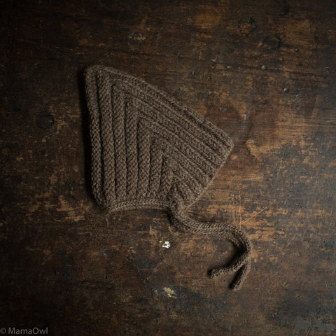 Hand Knitted Wool Chunky Pixie Hat - Chocolate