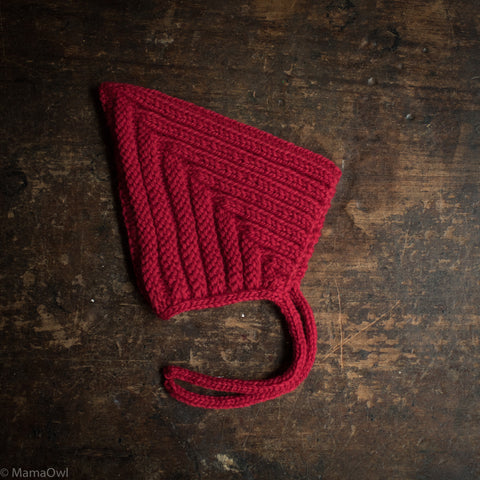 Hand Knitted Wool Chunky Pixie Hat - Scarlet