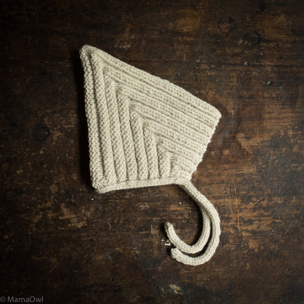 Hand Knitted Wool Chunky Pixie Hat - Cream