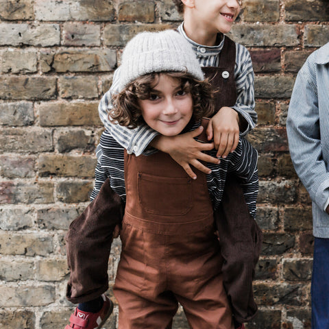 Cotton Porter Dungaree - Chestnut - 1-7y