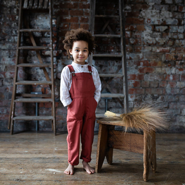 Cotton Porter Dungaree - Brick