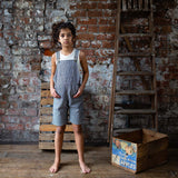 Cotton Porter Short Dungaree - Indigo Stripe