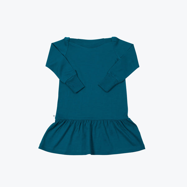 Superfine Merino jersey boat neck dress - Teal - 5-6 years