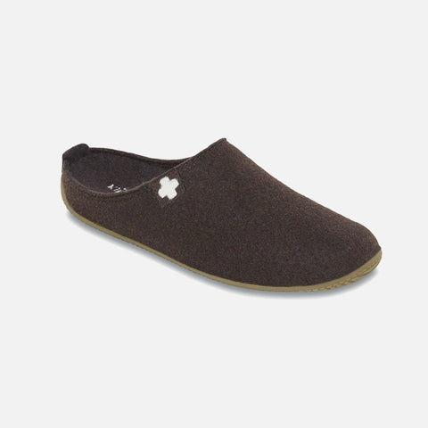 Adult Boiled Wool Swiss Cross Slippers - Coffee - 40-44