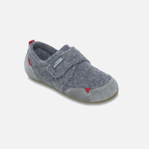 Velcro Wool Slipper Shoe Size - Grey- size 26-34 (UK8.5-2)