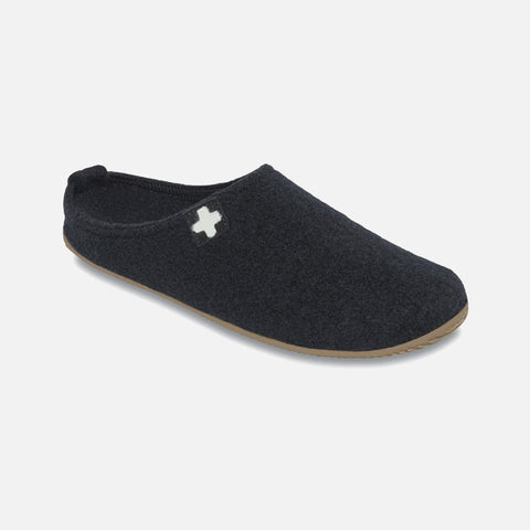Adult Boiled Wool Slippers - Black - 39-43