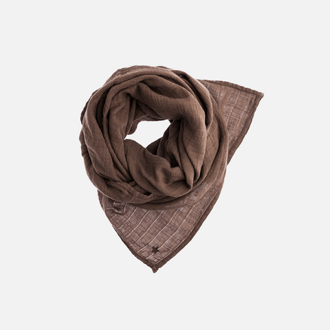 Cotton Muslin Scarf - Brown - One Size