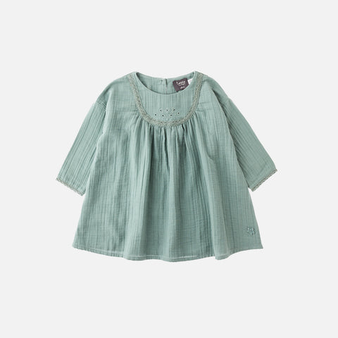 Cotton Lace Baby Dress - Sea Green - 3-24m