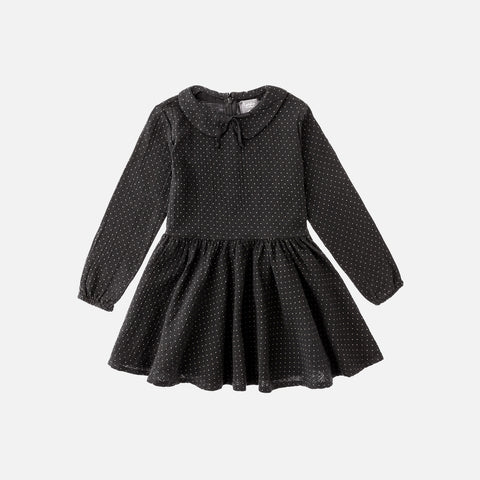 Cotton Dot Dress- Black - 2-3y