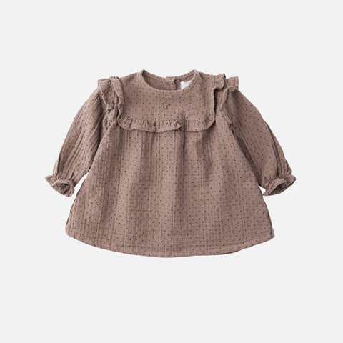 Cotton Baby Dot Dress - Toffee - 9m