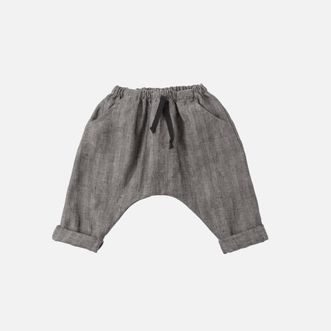 Linen Herringbone Pants - Grey - 3-24m