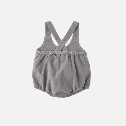 Cotton Velvet Romper - Grey - 3-12m