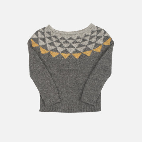 Semi Handknitted Alpaca Raglan Triangle - Grey - 2-9y