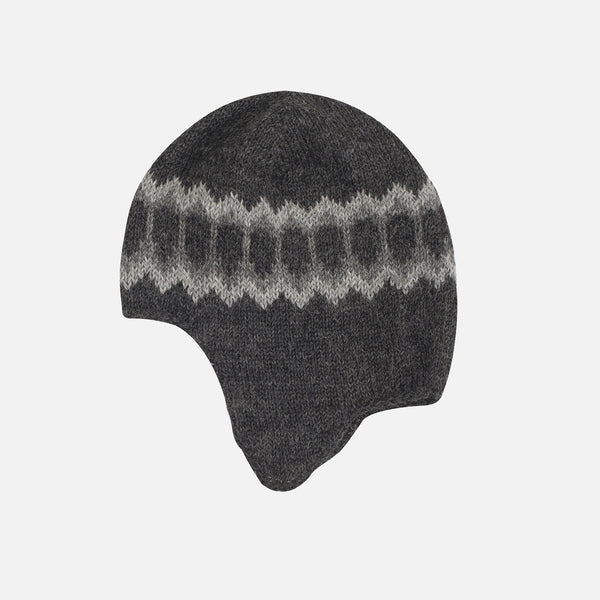 Semi Handknitted Alpaca hat - Dark Grey - 2-12y