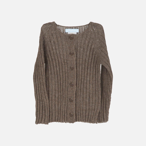 Alpaca Rib Cardigan - Brown - 2-9y