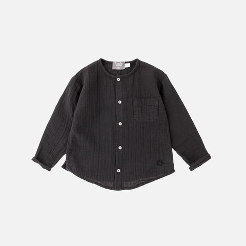 Cotton Muslin Shirt -Black - 6m-8y