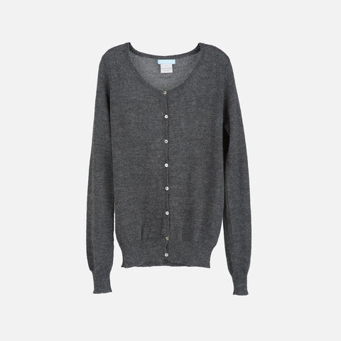 Womans Alpaca Cardigan - Dark Grey