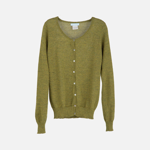 Womans Alpaca Cardigan - Dark Lime