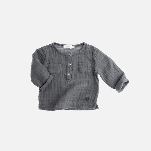 Muslin Button Shirt - Grey - 9m - 8y