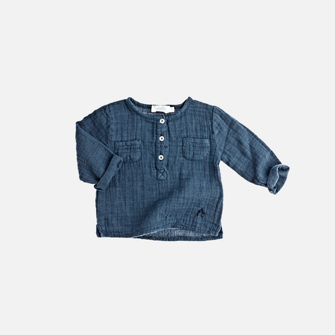 Muslin Button Shirt - Navy - 6-7y