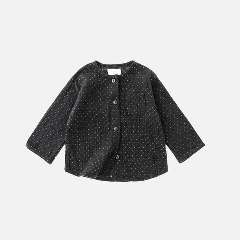 Cotton Mao Dots Shirt -Black - 6m-4y