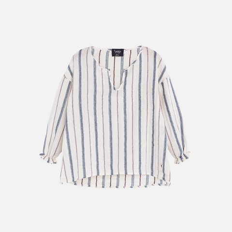 Striped Cotton Lurex Blouse- Ecru - 2-8y