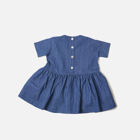 Cotton Pocket Dress SS - Denim - 6m-8y