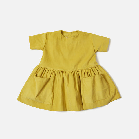Corduroy Pocket Dress Short Sleeves - Yellow - 18m-8y