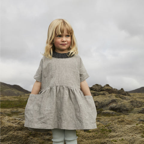 Linen Pocket Dress SS - Mini Check - 6-18m