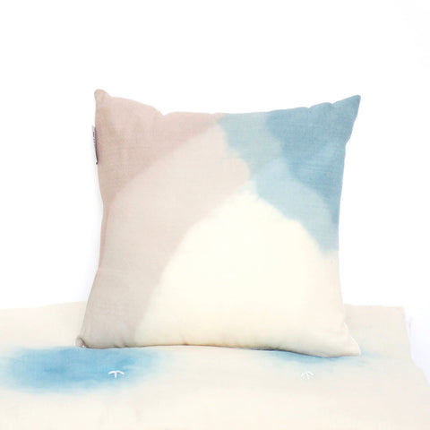 Crepe Wool Cushion Cover - Natural Dyes - Blue/Grey