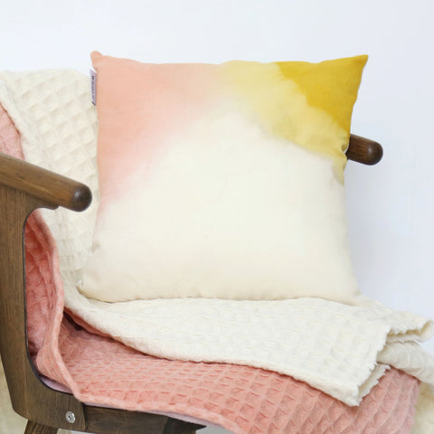Crepe Wool Cushion Cover - Natural Dyes - Rose/Yellow