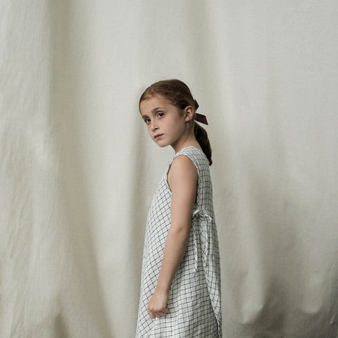 Linen Willow Dress - Graph Paper - 2-7y